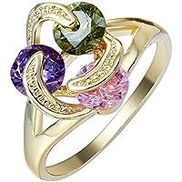 Phetmanee Shop Women Fashion 14k Yellow Gold activity Ring Jewelry Engagement Wedding Size 6-9 (9)
