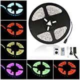 Anten LED RGB Waterproof Strip Lights SMD 3528 16.4ft 5M 300leds 20 Colors Changing Flexible LED Rope Lights with 44Key Remote 12V Power Supply IR Control Box