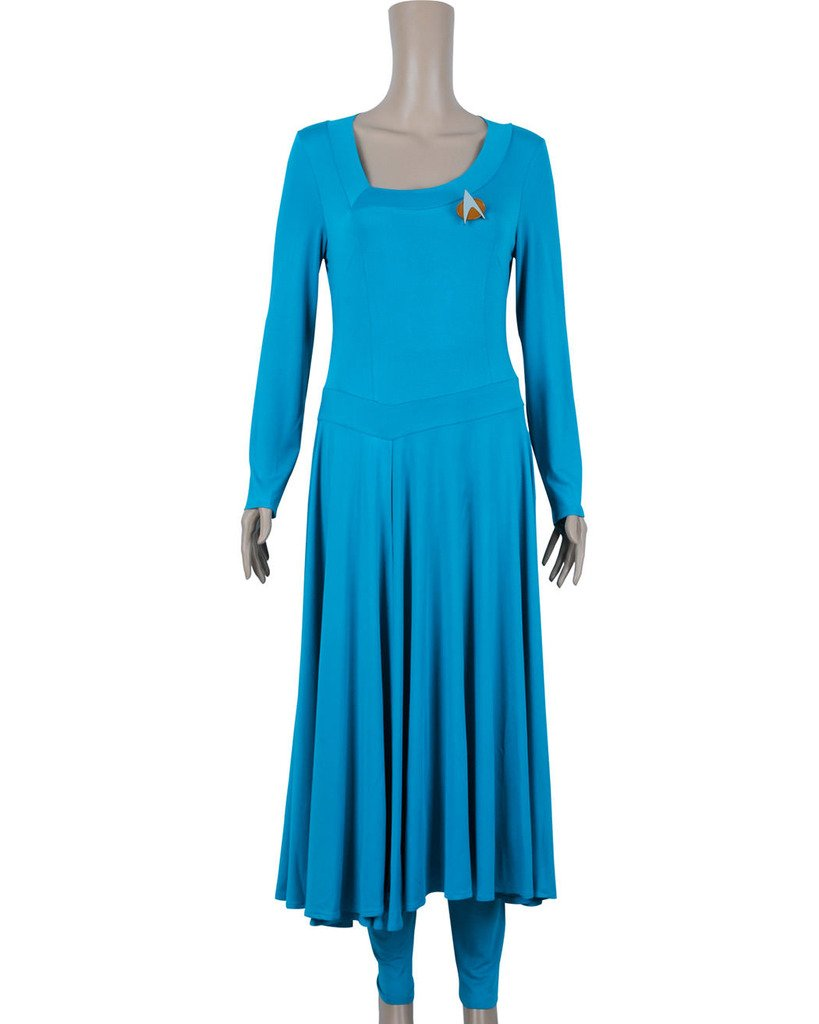 CosplayNow Star Trek Deanna Troi Cosplay Costume Dress Blue Custom Made by CosplayNow (Image #1)