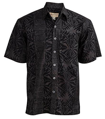 (Johari West Geometric Forest Tropical Hawaiian Batik Shirt by (X-Large, Slate))