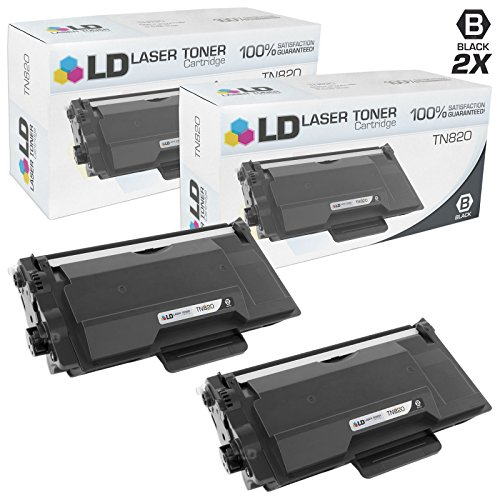 LD Compatible Brother TN820 Set of 2 Black Toner Cartridges for DCP, HL, and MFC Multifunction Printers by LD Products