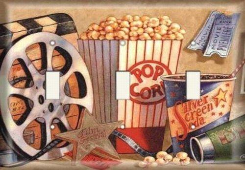 Triple Switch Plate - Movie Popcorn