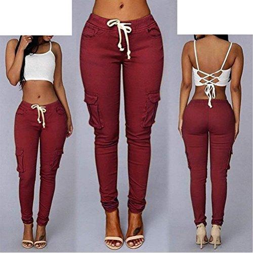 Eleganti Con Monocromo Fashion Biran Skinny Coulisse Pantalone Elasticit Tempo Elastica Donna Vita Libero Pantaloni vUCqv