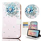 STENES Google Pixel 2 Case - STYLISH - 3D Handmade Bling Crystal Windmill Flowers Desgin Wallet Credit Card Slots Fold Media Stand Leather Case For Google Pixel 2 - Blue