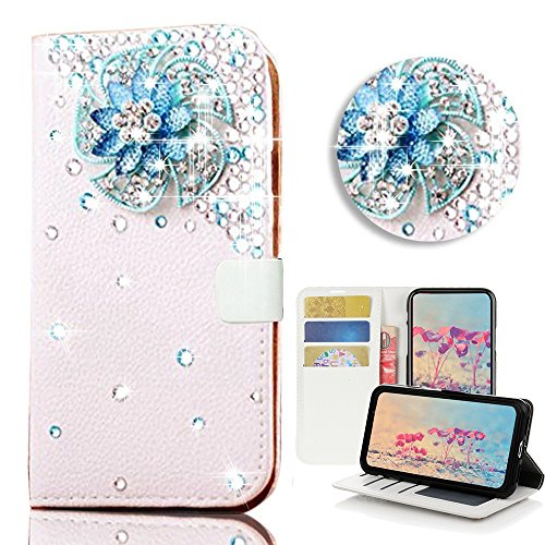 STENES Samsung Galaxy Note 8 Case - STYLISH - 3D Handmade Bling Crystal Windmill Flowers Desgin Wallet Credit Card Slots Fold Media Stand Leather Cover Case - Blue