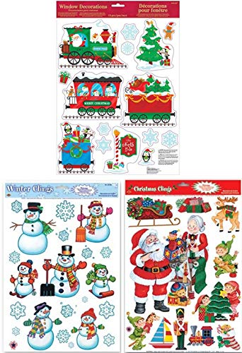(Winter Holiday Christmas Cheer Window Sticker Decal Clings: Bundle 3 Sheets Featuring Snowmen, Snowflakes, Christmas Train, Santas Workshop, Christmas Trees, Elves, Presents & More)