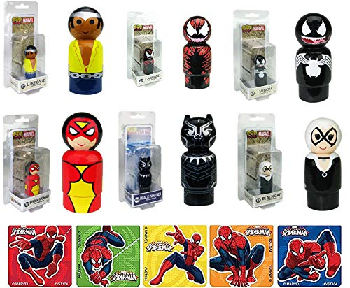 AYB Products Marvel Wooden Figure Pack Mini Comic Character Set Luke Cage #32 / Carnage #27 / Black Cat #15 / Spider-Woman #37 / Venom #12 / Black Panther #08 Retro Style + Bonus Spider-Man Stickers -