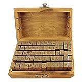 Elisona-70 PCS Vintage Wooden Rubber Stamps Set Alphabet Letter Number Punctuation Stamps Stamper for DIY Card Diary Crafting