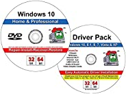 Compatible Windows 10 Home & Professional 32-64 Bit Restore, Install, Recover and Restore Dvd with Drivers
