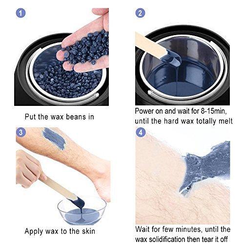 Wax Warmer - Bouvetan Waxing Hair Removal Kit with 4 Hard Wax Beans(14.1oz) and 20 Wax Applicator Sticks (at-Home Waxing) by Bouvetan (Image #7)
