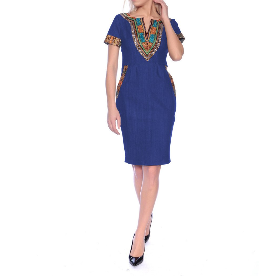 HANMAX Damen Vintage Jeanskleid Sommerkleid Hoch Taille Businesskleid Freizeitkleid Elegant Party Abendkleid
