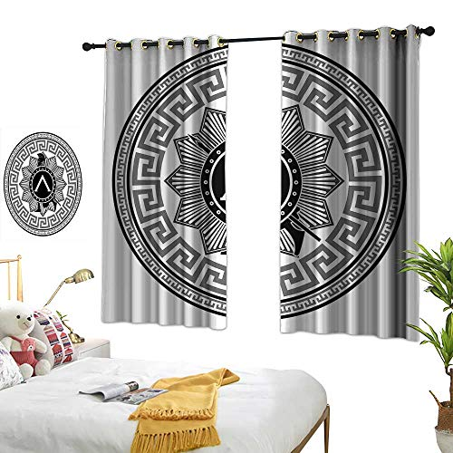 Warm Family Navy Curtains Toga Party,Label with Greek Pattern Spartan Figures Silhouette Retro Icon Design,Grey Black White 54