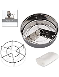 Aozita Steamer Basket for Instant Pot Accessories 5,6,8 qt Pressure Cooker with Removeable Dividers, Rack, Streaming Recipe and Cleaning Cloth