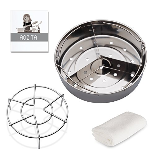 Aozita Steam Rack Basket Set with Removeable Dividers for Instant Pot and other 5/6/8 qt Pressure Cooker with Streaming Recipe and Cleaning Cloth