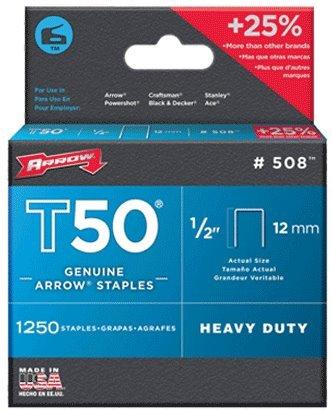 24 Pack Arrow Fastener 508 T50 1/2'' Flat Crown Heavy Duty Steel Staples 1250 per Package