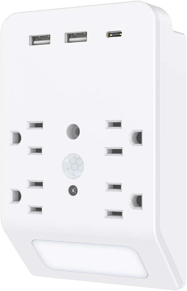 Living Room,Kitchen Ports 4 Outlet Bedroom Intelligent Nightlight with Motion /& Light Sensor USB Wall Outlet,Plug-in Night Light with 2 USB /& 1 Type-C 4.8A Total ETL Listed,Suitable for Bathroom