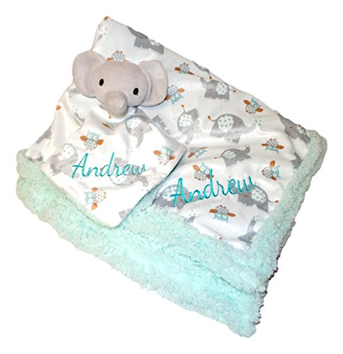Plush Custom Embroidery Name Baby Blanket (30 x 40 inch) with Lovey Blanket - Excellent Gift Idea (Custom Embroidery Light Green Elephant)