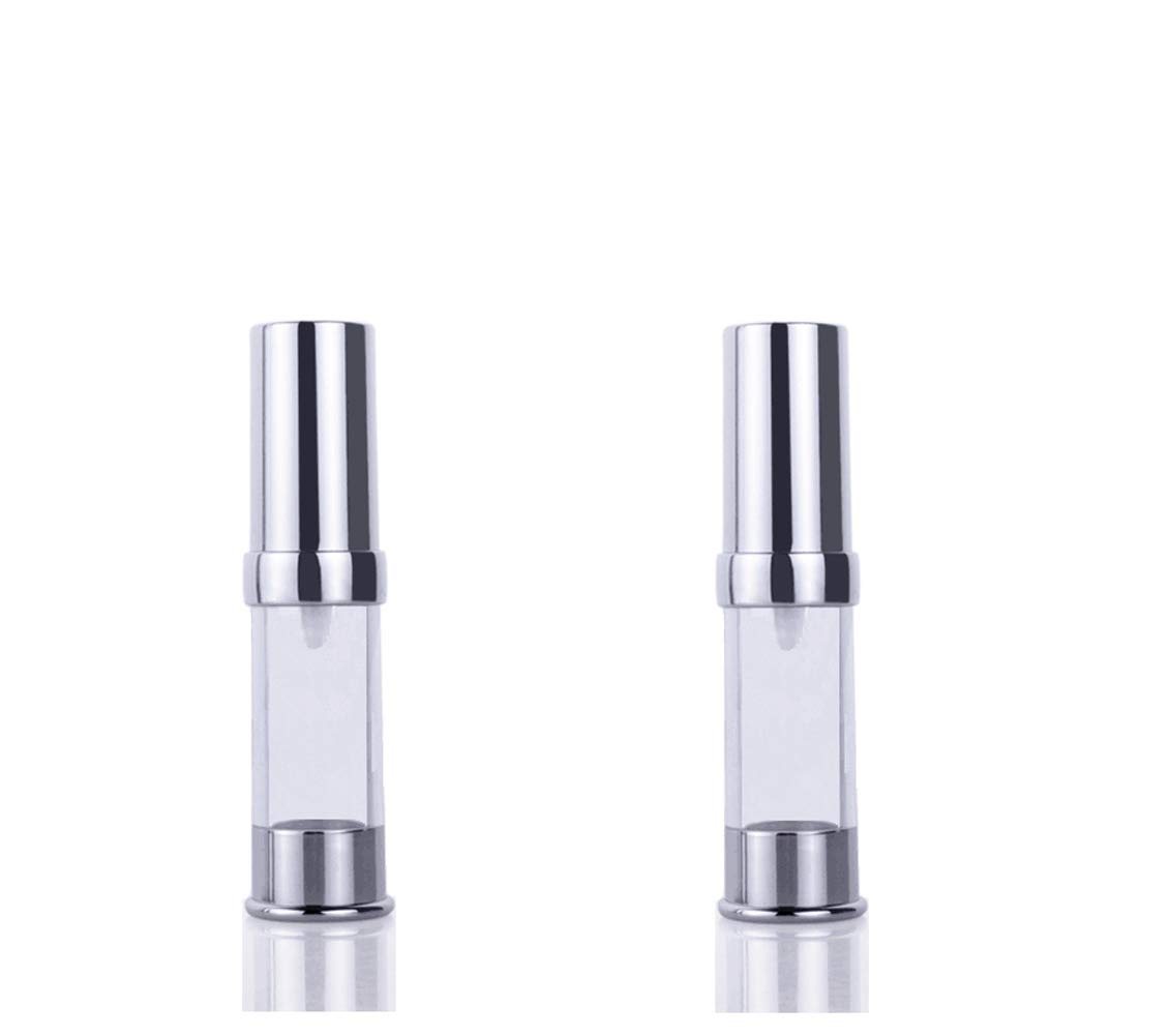 2PCS Empty Refillable Upscale Plastic Airless Vacuum Pump Press Bottle Portable Travel Packing Storage Cosmetic Containers Jar Holder Vial with Silver Cap For Cream Lotion Emulsion size 15ml/0.5oz