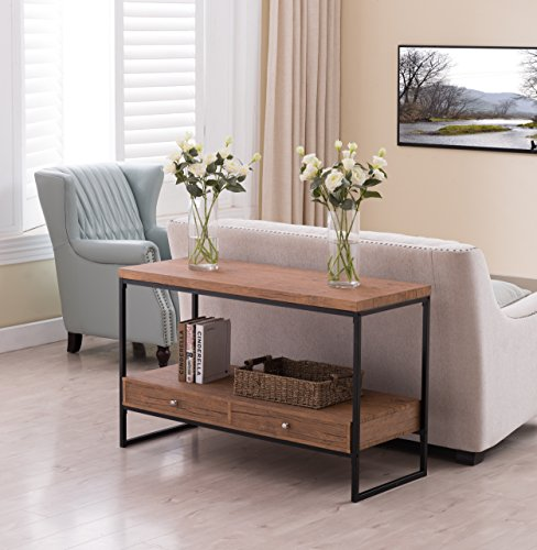 Vintage Brown / Black Metal Frame 2-tier Console Sofa Table Bottom Shelf with 2 Drawers