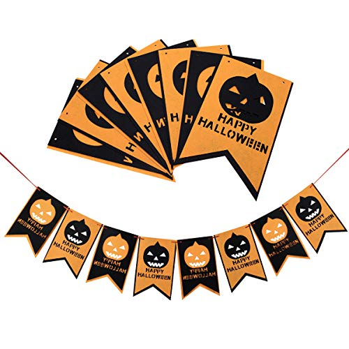 Halloween Party Banner, 10ft Felt Cloth Banner for Happy Halloween Decorations, Bunting Banner Halloween Decor for Outdoor Indoor Halloween Party Decoration Supplies