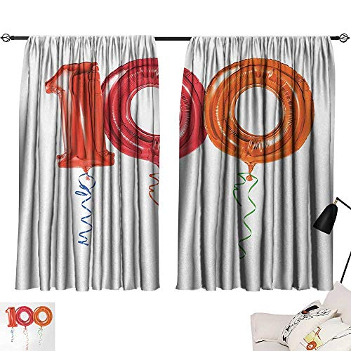 Jinguizi 100th Birthday Curtain Darkening Blackout Party for Hundred Years Olds Flying Balloons Artwork Print Woven Darkening Curtains Red Orange and Hot Pink W55 x L39 by Jinguizi (Image #6)