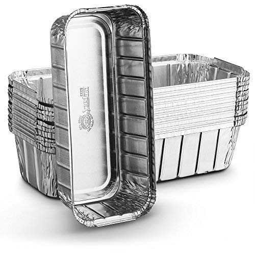Propack Aluminum Disposable Rectangle 3 Pound Loaf Pans For Serving, Baking, Cooking, Roasting, Broiling, Cakes, 10.5'' x 5'' x 2.5'' Pack of 10 - Foil Loaf Pans