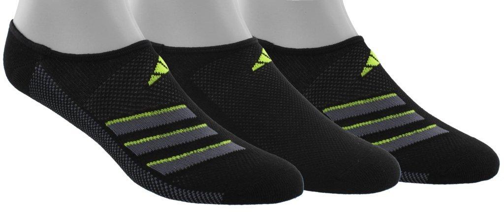 adidas Men's Climacool Superlite Super No Show Socks (3-Pack), Black/Onix/Semi Solar Slime, Size 6-12