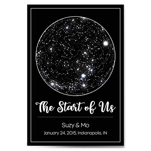 Custom Personalized Star Constellation Map, Star Chart, Choose Your Font, Custom Engagement Anniversary Birthday Baby Gift, Night Sky Poster with Frame (Maps Constellation Star Charts)