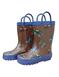 Foxfire for Kids Brown and Blue Monster Truck Rain Boots