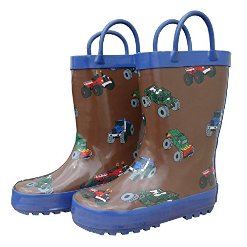 Boots Brown Rain Rubber (Foxfire for Kids Brown Rubber Boot with Blue Trim and Monster Truck Pattern Size 9)