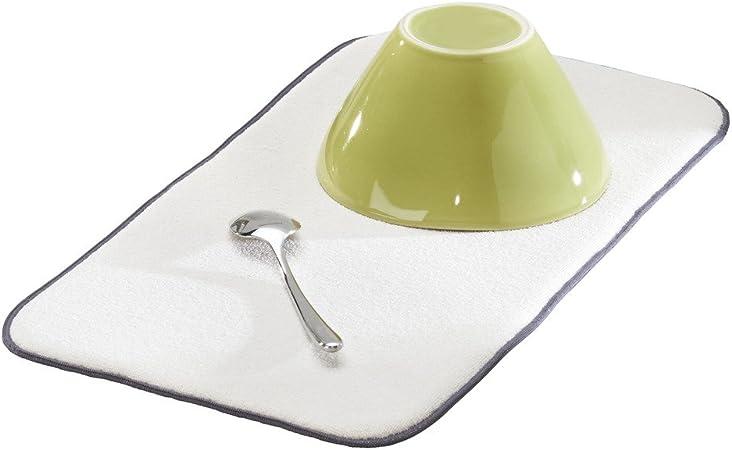 alfombrilla escurreplatos peque/ña y gruesa de poli/éster y microfibra para un secado r/ápido gris esta/ño//marfil InterDesign iDry Tapete de cocina 46 x 23 cm