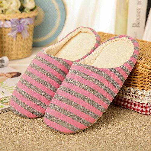 Inverno habuji striped morbida borsa di fondo pantofole di cotone spessa tranquilla casa di fondo interno il pavimento di legno di cotone pantofole, 38/39, rosa