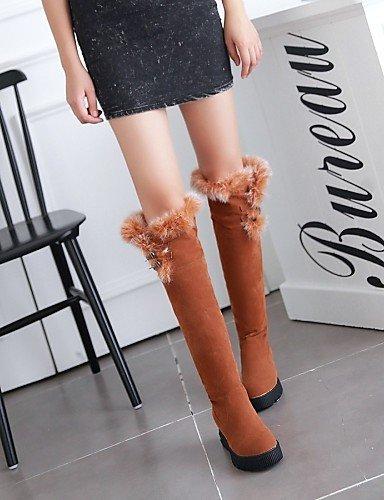 Tacón us5 La 5 5 De Negro Cuñas U Casual Amarillo Beige Beige Vestido Botas Redonda A Mujer Zapatos Xzz Punta Cuña Vellón Cn35 Uk3 Moda Eu36 qHgxvtR5w