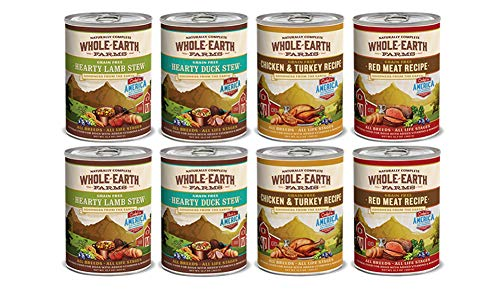 Merrick Dog Food Grain Free-4 Flavors 8 Cans Duck Stew Red Meat Lamb Stew Chicken & Turkey 2 Each Canned Wet Food