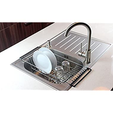 Over-The-Sink Kitchen Dish Drainer Rack, Durable Chrome-plated Steel (Black)