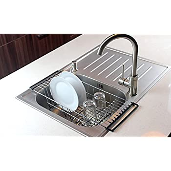 Over The Sink Kitchen Dish Drainer Rack, Durable Chrome Plated Steel (Black) Design Ideas