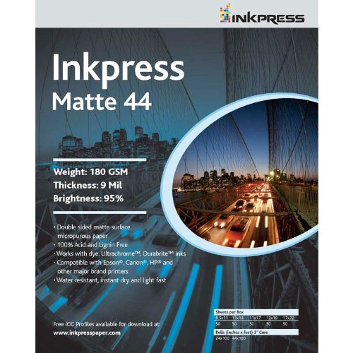 (Inkpress Duo Matte 44 Inkjet Printer Paper, Double Sided, 180gsm, 9mil, 95% Bright, 17x22