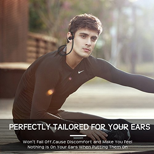 Bluetooth Headphones Wireless Earbuds Sport In-Ear IPX7 Sweatproof Earphones with Mic Super sound quality Bluetooth 4.1 ,8 Hours Play Time, Noise Cancelling Headsets Secure Fit Design Black Photo #5
