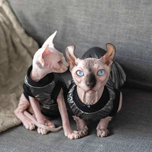 Hairless Cats Clothes, Punk Rock T-Shirt Sleeveless Steampunk Tank Top Vest, Breathable Summer Vest Cat Wear Clothes for Sphynx, Cornish Rex, Devon Rex, Peterbald, Hairless Cats Apparel Assorted Size 27