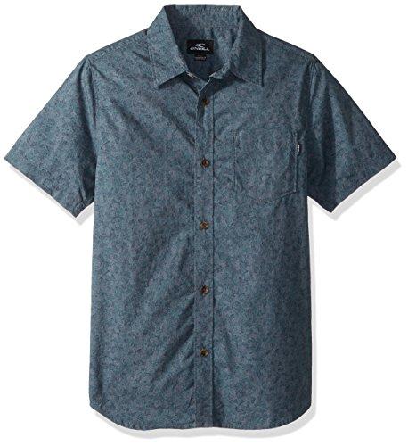 O'Neill Boys' Big Standard Fit Micro Print Short Sleeve Woven, Structure Dark Blue, - Shirt Boys Micro