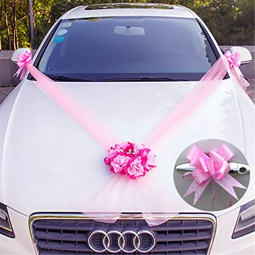 DIY Wedding Car Flower Plate 10 Ribbon Bows Set Door Handle Ornament Supplies Party Events Accessories Wedding Decoration Katoot (Pink)