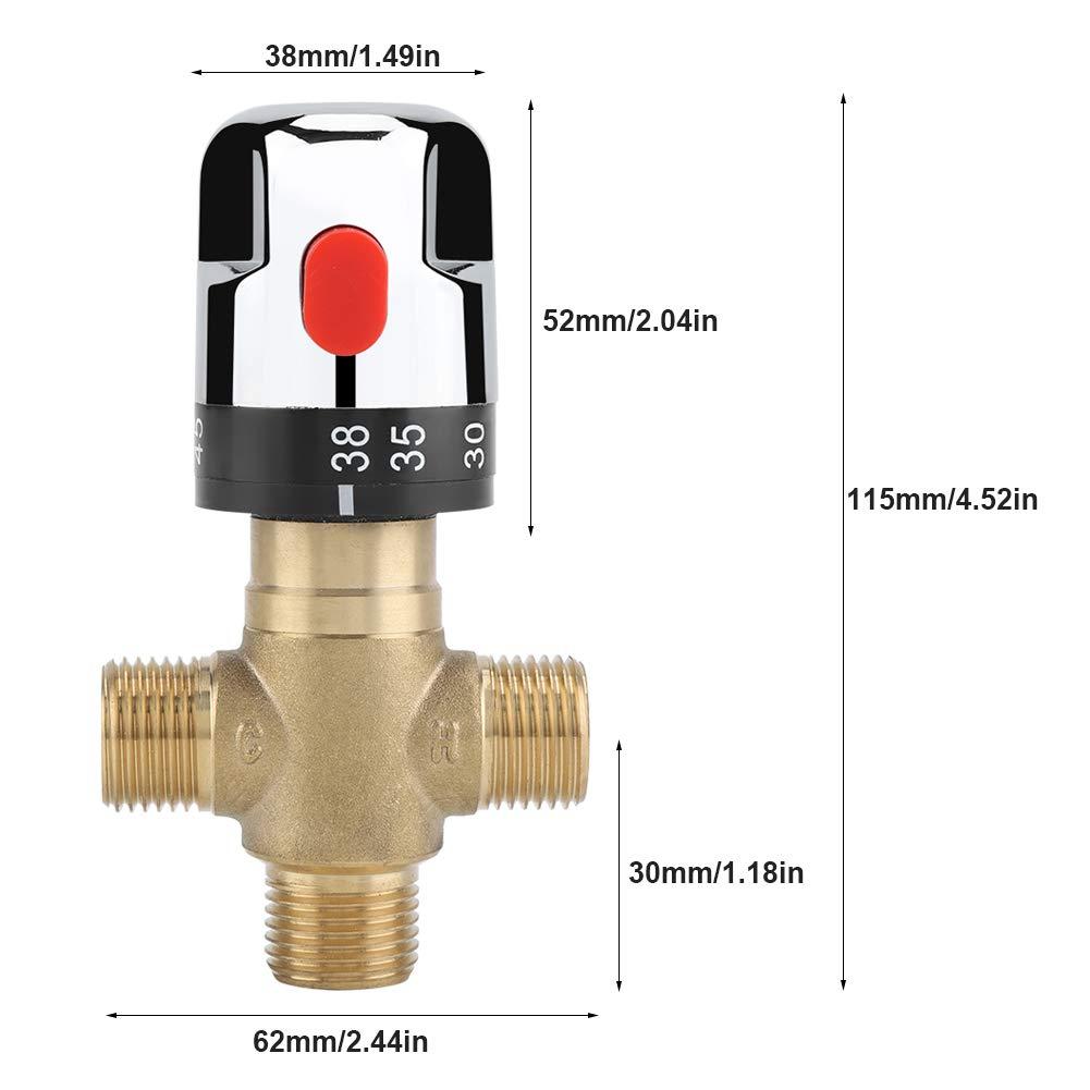 2 per sistema doccia Controllo del termostato del tubo di controllo della temperatura dellacqua Valvola di miscelazione termostatica in ottone massiccio G1