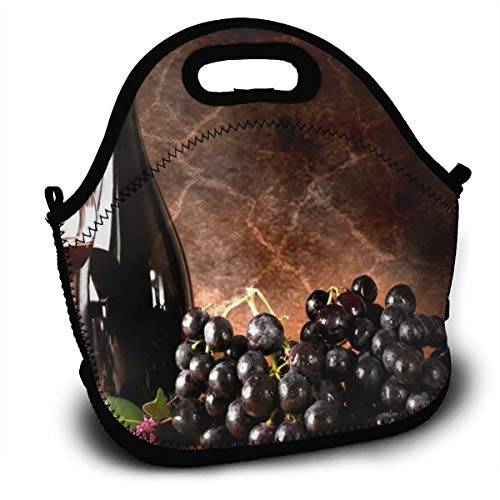 Dejup Lunch Bag Red Wine Grapes Tote Reusable Insulated Lunchbox, Shoulder Strap with Zipper for Kids, Boys, Girls, Women and Men ()