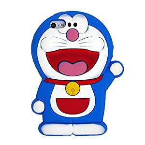 Doraemon Carino Cartone Animato suave piel funda Cover Carcasa Cubierta Caso Case Skin de silicona para el tel¨¦fono m¨®vil para Apple iPhone 5 5s 5G 5th Generation with LLMART Nylon Cable Tie