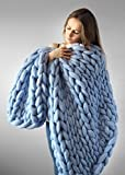 Chunky Giant Knit Throw Hand-made Thick Yarn Blanket Bulky Knit Bulky Knitting Yarn Blanket Pet Bed Chair Sofa Yoga Mat Rug BADIER Blue 100200