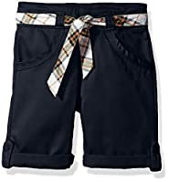 Eddie Bauer Girls' Twill Short (More Styles Available), Belted Navy, 14
