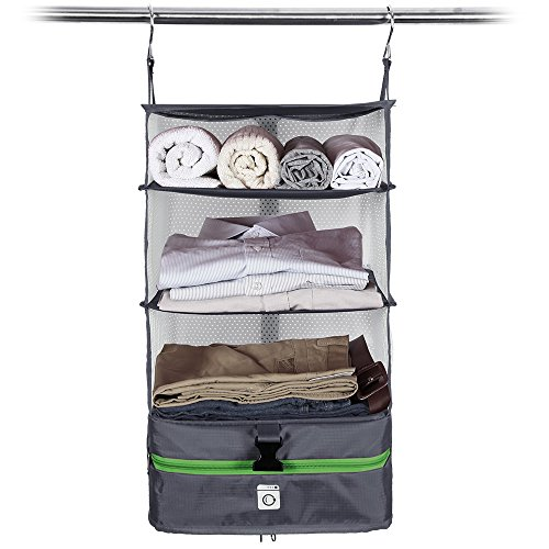 Modern Home Portable Packing Shelves Travel Closet - Medium Gray/Green