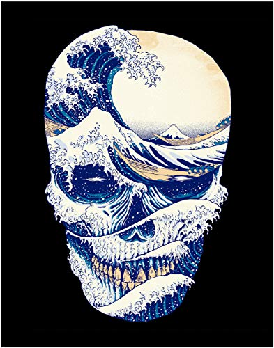 - Surfer Wave Skull Fine Art Print- 11x14 Unframed Photo Art Print- Great Gift for Surfing or Extreme Sports Fan - Looks Great in a Dorm, Bedroom or Game Room. Decor Poster Under $20