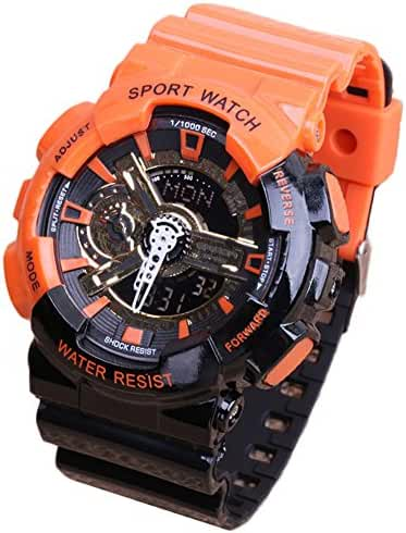 Multi-Function Fashionable Outdoor Waterproof Sport Kids Watch For Boys Girls Wrist Watches Orange+Black