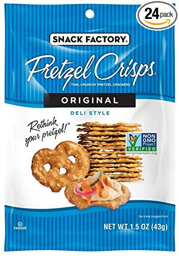 Snack Factory Pretzel Crisps, Original, Single-Serve 1.5 Ounce (Pack of 24)